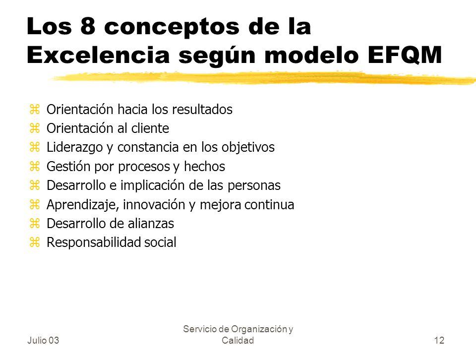 Julio 03 Servicio de Organización y Calidad12 Los 8 conceptos de la Excelencia según modelo EFQM zOrientación hacia los resultados zOrientación al cli