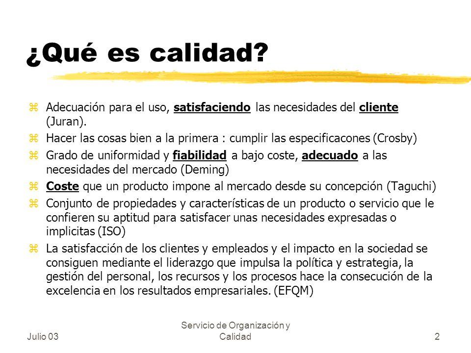 Julio 03 Servicio de Organización y Calidad2 ¿Qué es calidad? zAdecuación para el uso, satisfaciendo las necesidades del cliente (Juran). zHacer las c