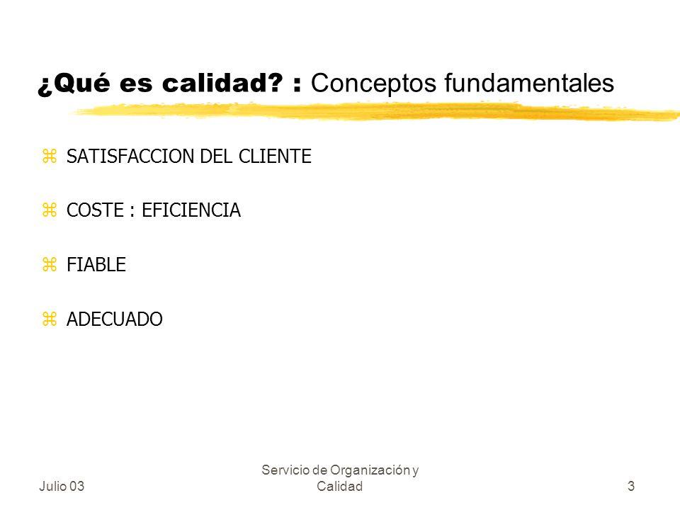 Julio 03 Servicio de Organización y Calidad3 ¿Qué es calidad? : Conceptos fundamentales zSATISFACCION DEL CLIENTE zCOSTE : EFICIENCIA zFIABLE zADECUAD