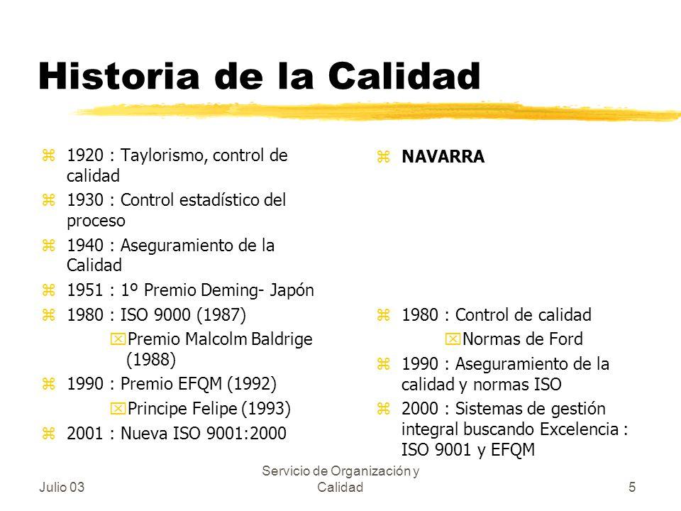 Julio 03 Servicio de Organización y Calidad5 Historia de la Calidad z1920 : Taylorismo, control de calidad z1930 : Control estadístico del proceso z19