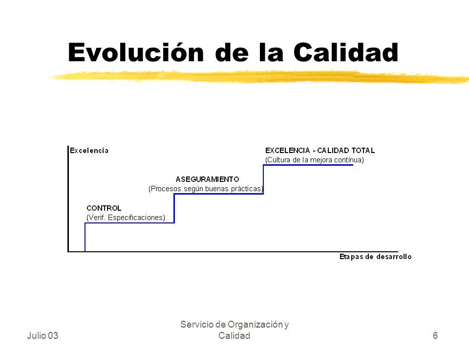 Julio 03 Servicio de Organización y Calidad6 Evolución de la Calidad