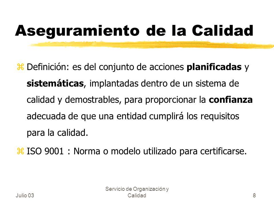 Julio 03 Servicio de Organización y Calidad8 Aseguramiento de la Calidad zDefinición: es del conjunto de acciones planificadas y sistemáticas, implant