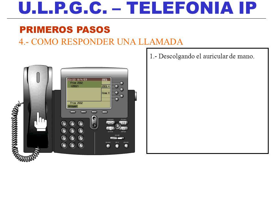 U.L.P.G.C. – TELEFONIA IP PRIMEROS PASOS 4.- COMO RESPONDER UNA LLAMADA 1.- Descolgando el auricular de mano.
