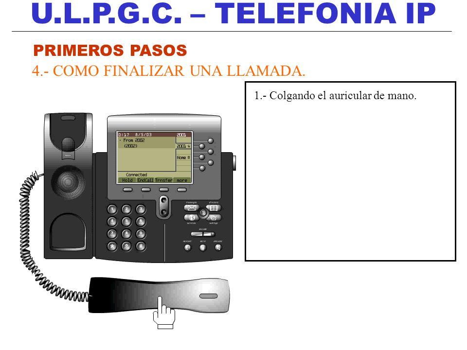 U.L.P.G.C. – TELEFONIA IP PRIMEROS PASOS 4.- COMO FINALIZAR UNA LLAMADA. 1.- Colgando el auricular de mano.