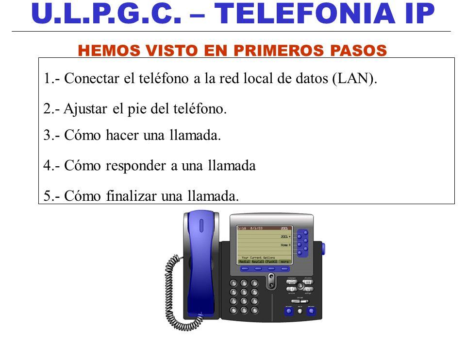 U.L.P.G.C. – TELEFONIA IP HEMOS VISTO EN PRIMEROS PASOS 1.- Conectar el teléfono a la red local de datos (LAN). 2.- Ajustar el pie del teléfono. 3.- C