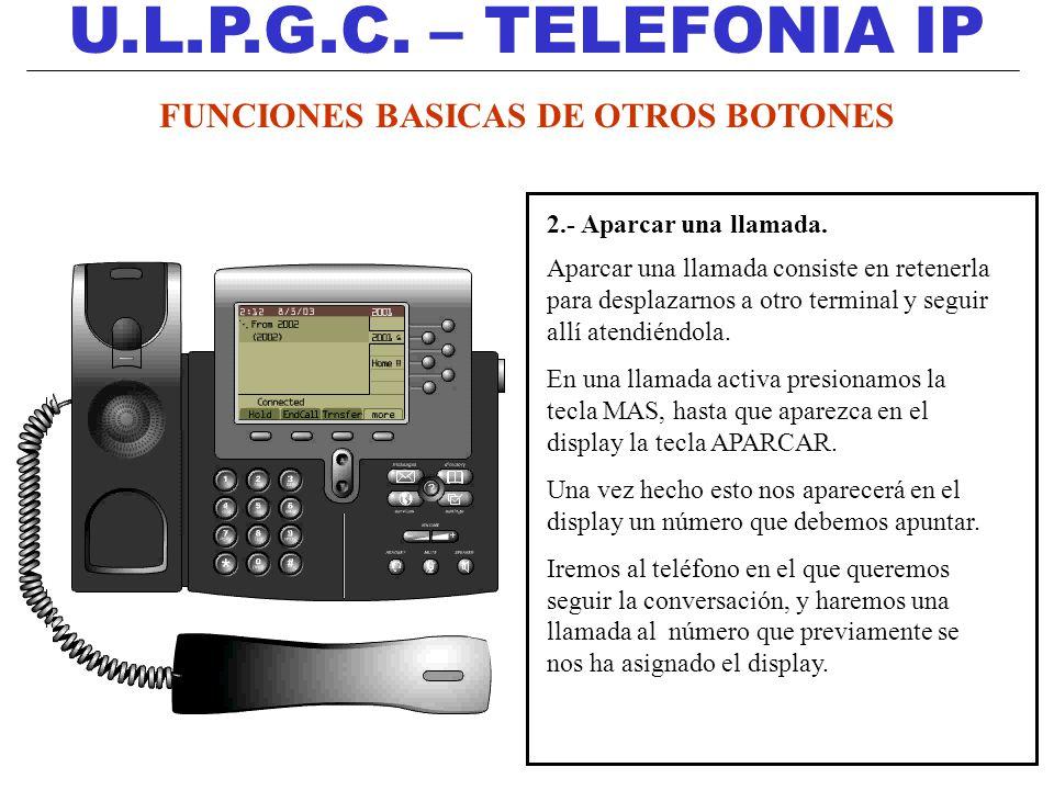 U.L.P.G.C. – TELEFONIA IP 2.- Aparcar una llamada. Aparcar una llamada consiste en retenerla para desplazarnos a otro terminal y seguir allí atendiénd