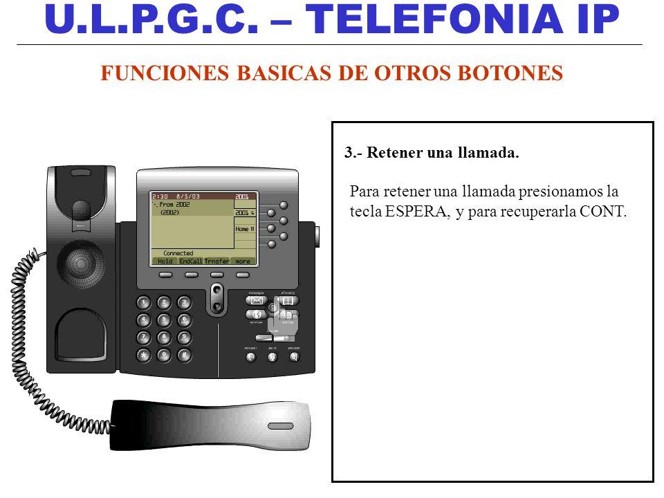 U.L.P.G.C. – TELEFONIA IP 3.- Retener una llamada. Para retener una llamada presionamos la tecla ESPERA, y para recuperarla CONT. FUNCIONES BASICAS DE