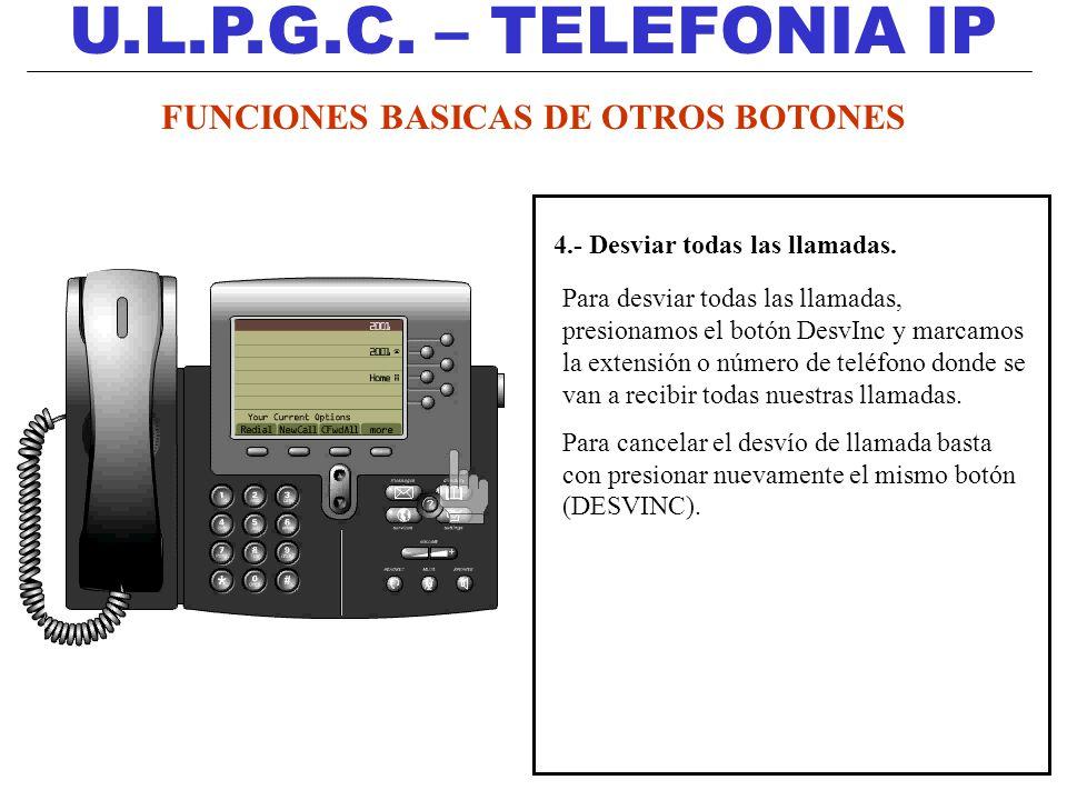 U.L.P.G.C. – TELEFONIA IP 4.- Desviar todas las llamadas. Para desviar todas las llamadas, presionamos el botón DesvInc y marcamos la extensión o núme