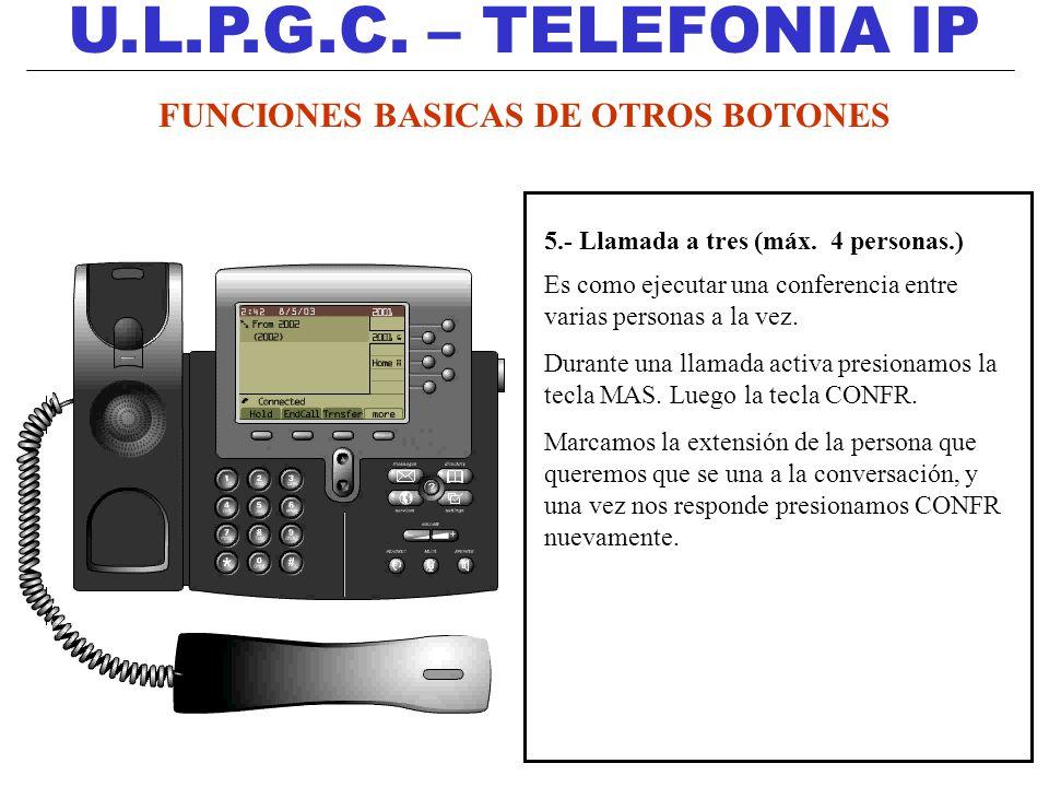 U.L.P.G.C. – TELEFONIA IP 5.- Llamada a tres (máx. 4 personas.) Es como ejecutar una conferencia entre varias personas a la vez. Durante una llamada a