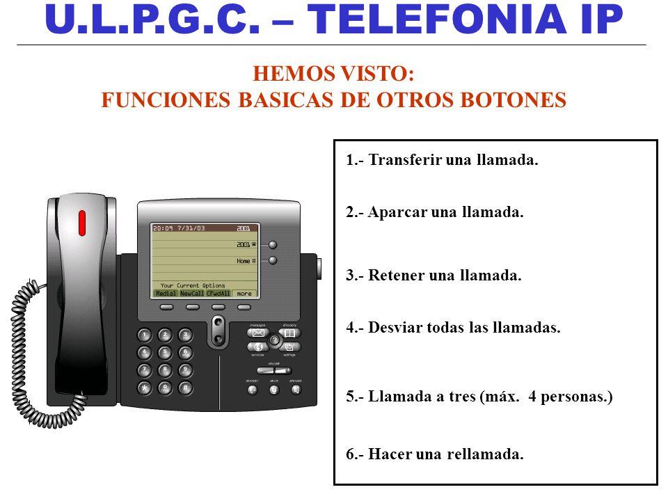 U.L.P.G.C. – TELEFONIA IP HEMOS VISTO: FUNCIONES BASICAS DE OTROS BOTONES 1.- Transferir una llamada. 2.- Aparcar una llamada. 3.- Retener una llamada