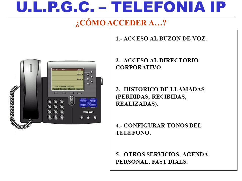 U.L.P.G.C. – TELEFONIA IP 1.- ACCESO AL BUZON DE VOZ. 2.- ACCESO AL DIRECTORIO CORPORATIVO. 3.- HISTORICO DE LLAMADAS (PERDIDAS, RECIBIDAS, REALIZADAS