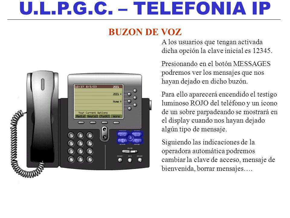 U.L.P.G.C. – TELEFONIA IP BUZON DE VOZ A los usuarios que tengan activada dicha opción la clave inicial es 12345. Presionando en el botón MESSAGES pod
