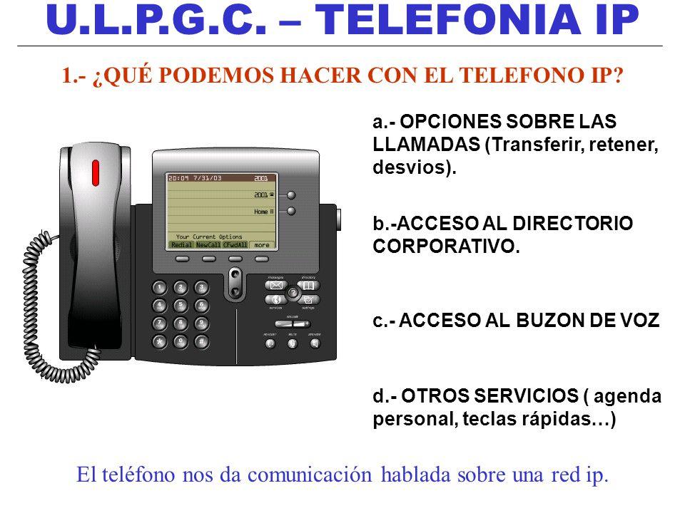 U.L.P.G.C. – TELEFONIA IP 1.- ¿QUÉ PODEMOS HACER CON EL TELEFONO IP? a.- OPCIONES SOBRE LAS LLAMADAS (Transferir, retener, desvios). b.-ACCESO AL DIRE