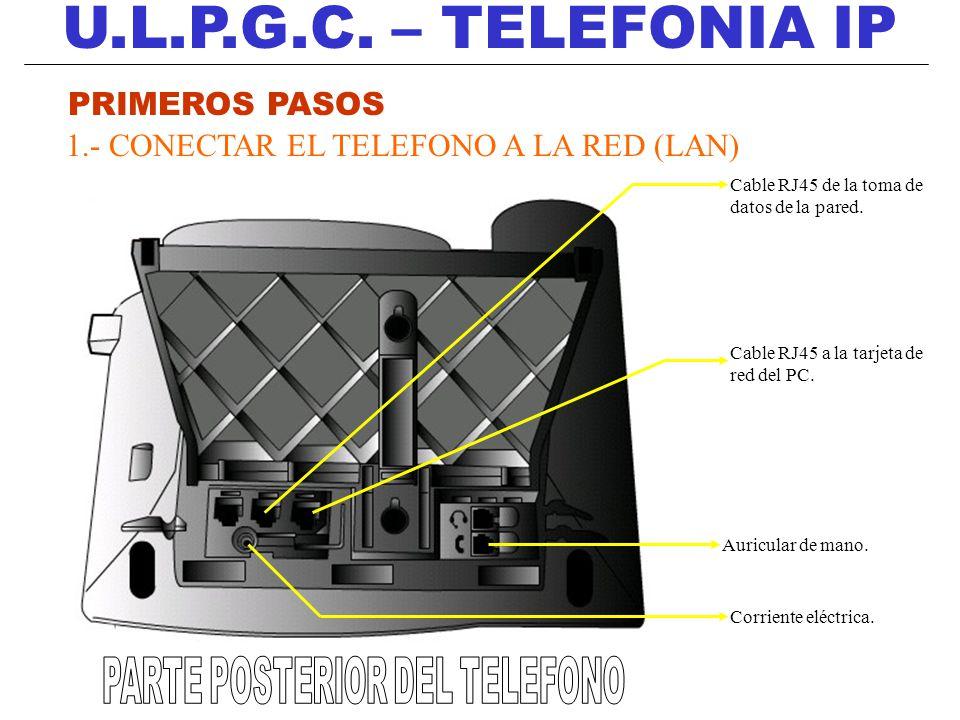 U.L.P.G.C. – TELEFONIA IP PRIMEROS PASOS 1.- CONECTAR EL TELEFONO A LA RED (LAN) Cable RJ45 de la toma de datos de la pared. Cable RJ45 a la tarjeta d