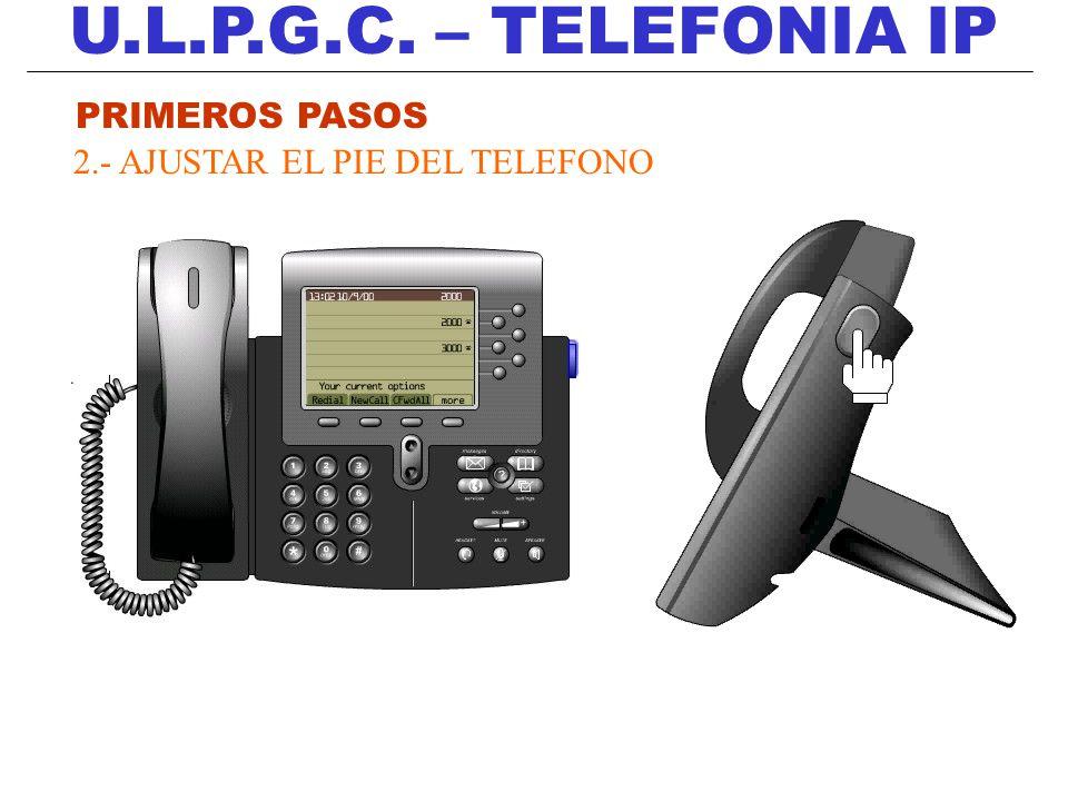 U.L.P.G.C. – TELEFONIA IP PRIMEROS PASOS 2.- AJUSTAR EL PIE DEL TELEFONO