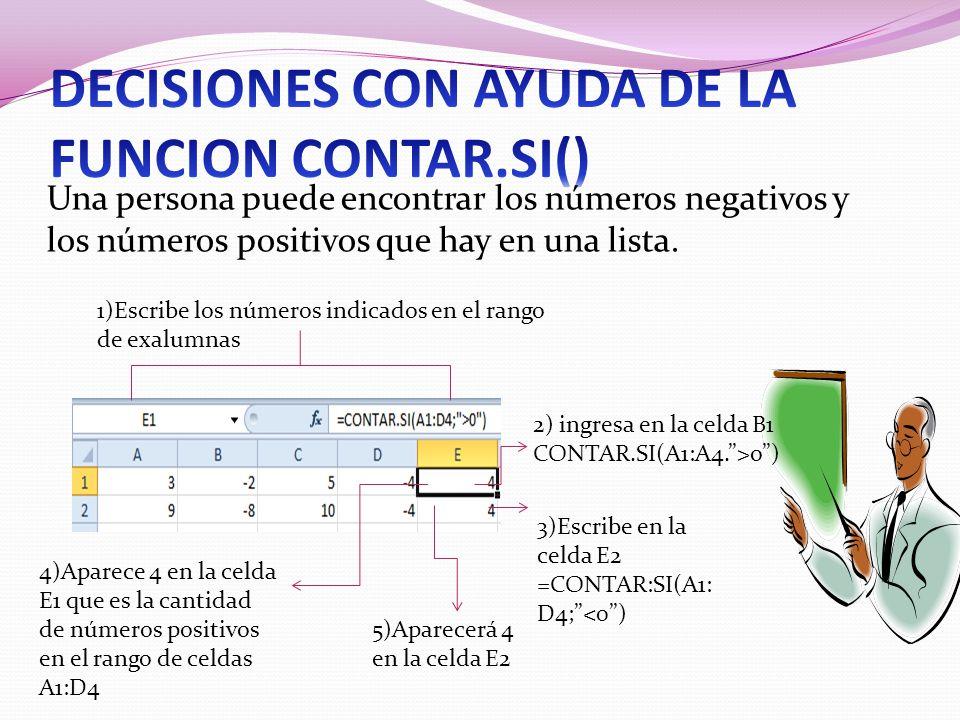 Una persona puede encontrar los números negativos y los números positivos que hay en una lista. 1)Escribe los números indicados en el rango de exalumn