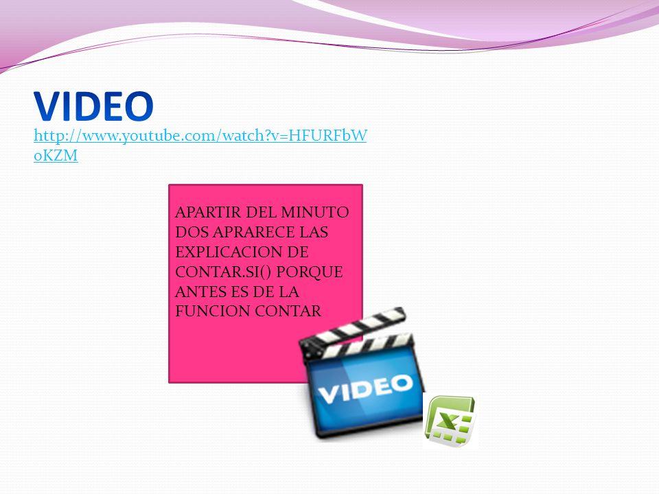 http://www.youtube.com/watch?v=HFURFbW oKZM APARTIR DEL MINUTO DOS APRARECE LAS EXPLICACION DE CONTAR.SI() PORQUE ANTES ES DE LA FUNCION CONTAR