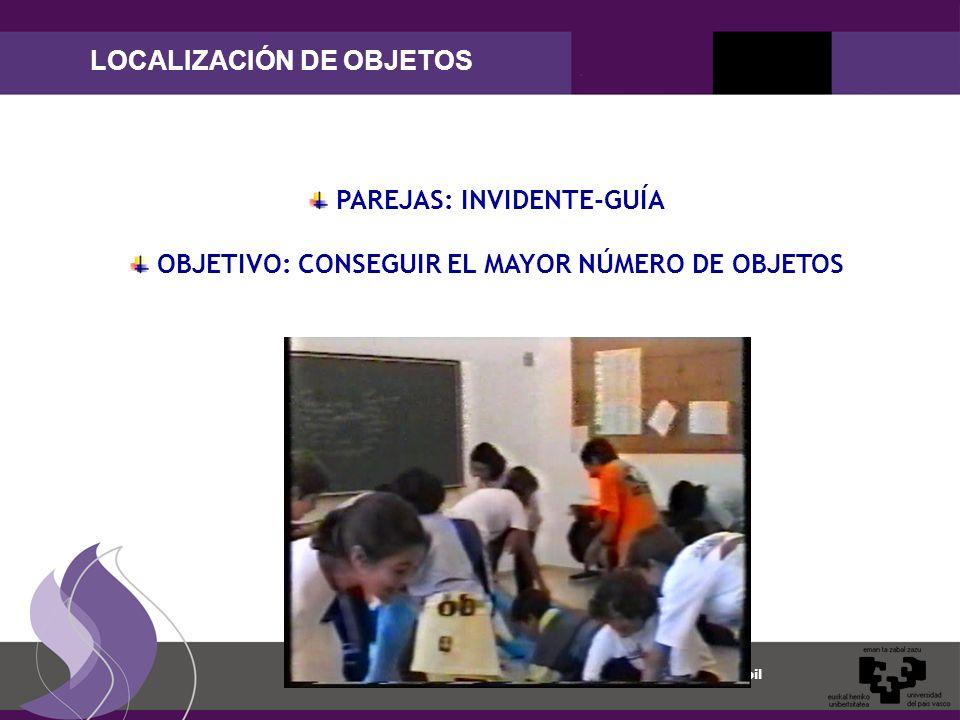 Maite Garaigordobil LOCALIZACIÓN DE OBJETOS PAREJAS: INVIDENTE-GUÍA OBJETIVO: CONSEGUIR EL MAYOR NÚMERO DE OBJETOS