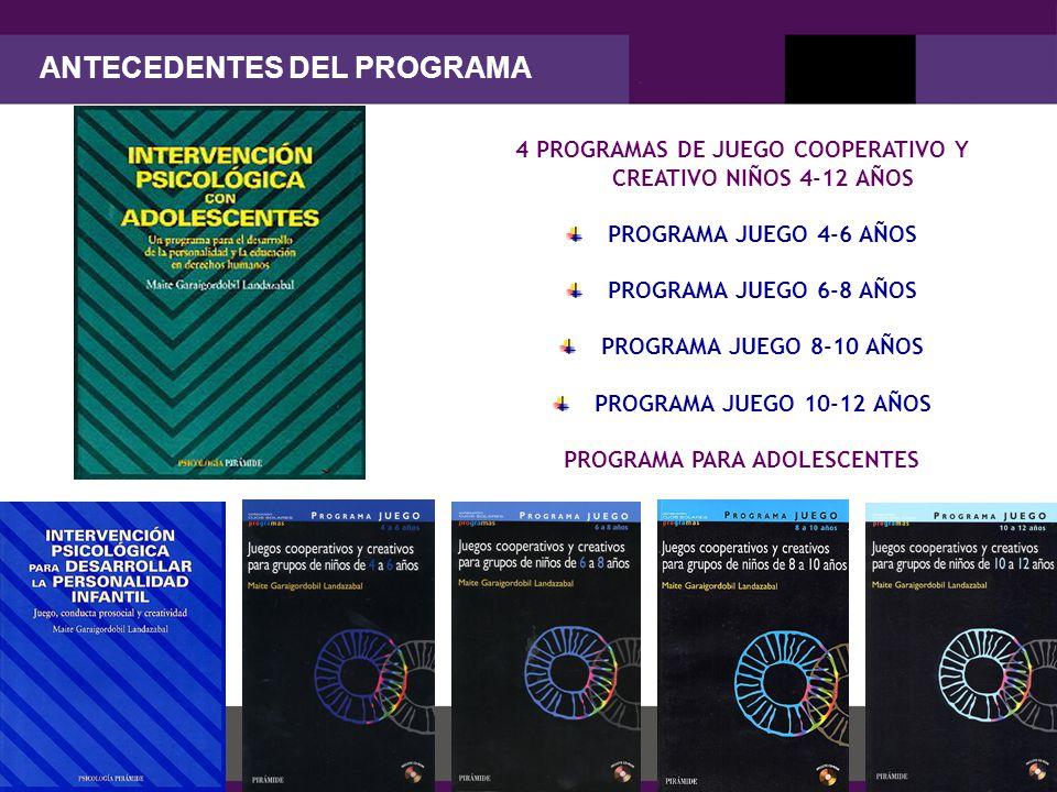 Maite Garaigordobil 4 PROGRAMAS DE JUEGO COOPERATIVO Y CREATIVO NIÑOS 4-12 AÑOS PROGRAMA JUEGO 4-6 AÑOS PROGRAMA JUEGO 6-8 AÑOS PROGRAMA JUEGO 8-10 AÑOS PROGRAMA JUEGO 10-12 AÑOS PROGRAMA PARA ADOLESCENTES ANTECEDENTES DEL PROGRAMA