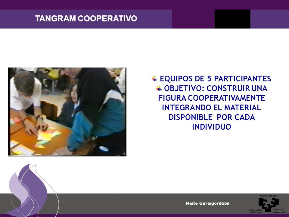 Maite Garaigordobil TANGRAM COOPERATIVO EQUIPOS DE 5 PARTICIPANTES OBJETIVO: CONSTRUIR UNA FIGURA COOPERATIVAMENTE INTEGRANDO EL MATERIAL DISPONIBLE POR CADA INDIVIDUO