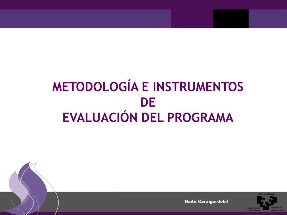 Maite Garaigordobil METODOLOGÍA E INSTRUMENTOS DE EVALUACIÓN DEL PROGRAMA