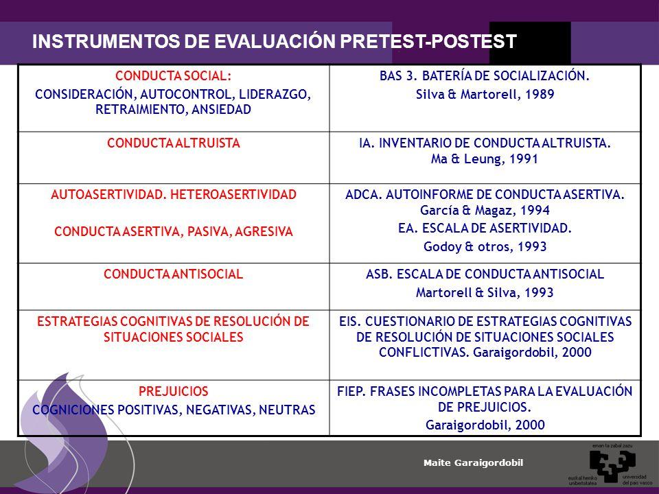 Maite Garaigordobil INSTRUMENTOS DE EVALUACIÓN PRETEST-POSTEST CONDUCTA SOCIAL: CONSIDERACIÓN, AUTOCONTROL, LIDERAZGO, RETRAIMIENTO, ANSIEDAD BAS 3.