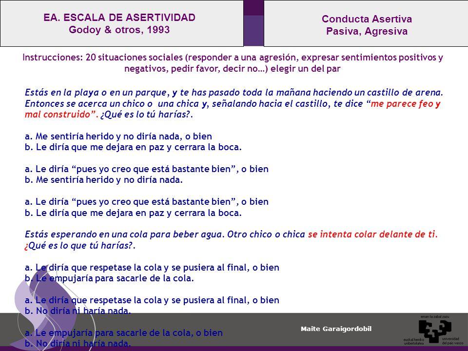 Maite Garaigordobil Conducta Asertiva Pasiva, Agresiva EA.
