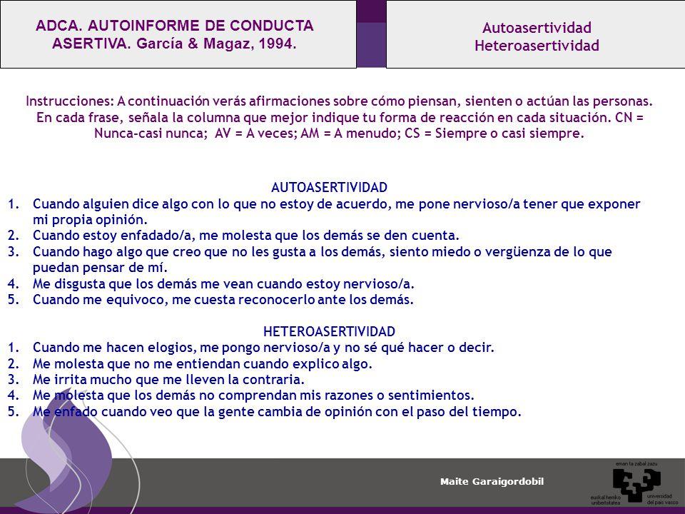 Maite Garaigordobil Autoasertividad Heteroasertividad ADCA.