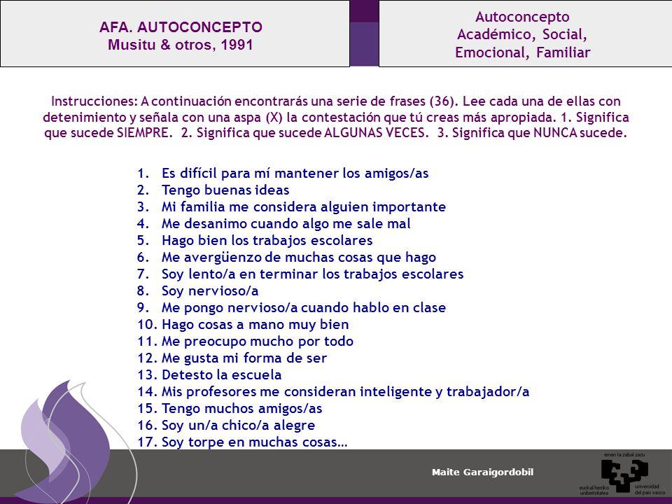 Maite Garaigordobil Autoconcepto Académico, Social, Emocional, Familiar AFA.