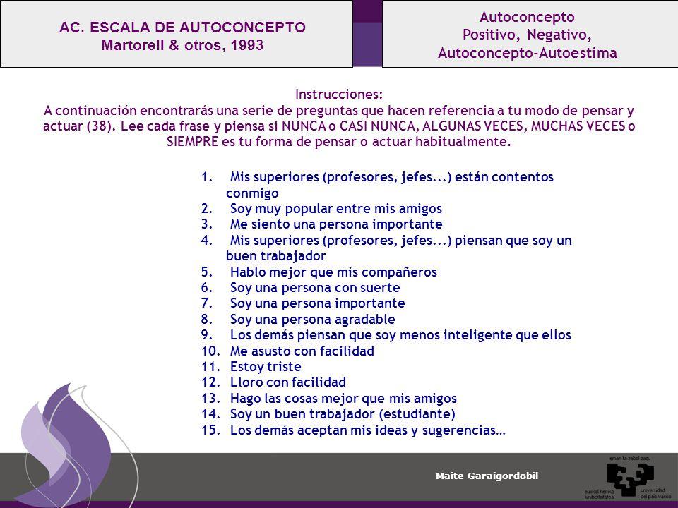 Maite Garaigordobil Autoconcepto Positivo, Negativo, Autoconcepto-Autoestima AC.