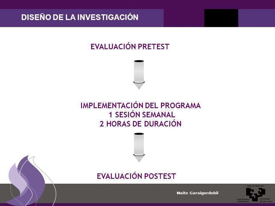 Maite Garaigordobil DISEÑO DE LA INVESTIGACIÓN EVALUACIÓN PRETEST IMPLEMENTACIÓN DEL PROGRAMA 1 SESIÓN SEMANAL 2 HORAS DE DURACIÓN EVALUACIÓN POSTEST
