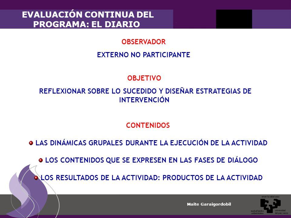 Maite Garaigordobil EVALUACIÓN CONTINUA DEL PROGRAMA: EL DIARIO CONTENIDOS LAS DINÁMICAS GRUPALES DURANTE LA EJECUCIÓN DE LA ACTIVIDAD LOS CONTENIDOS QUE SE EXPRESEN EN LAS FASES DE DIÁLOGO LOS RESULTADOS DE LA ACTIVIDAD: PRODUCTOS DE LA ACTIVIDAD OBSERVADOR EXTERNO NO PARTICIPANTE OBJETIVO REFLEXIONAR SOBRE LO SUCEDIDO Y DISEÑAR ESTRATEGIAS DE INTERVENCIÓN