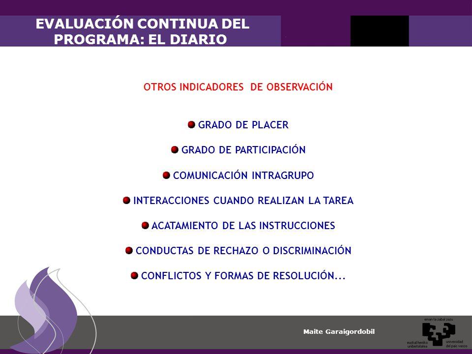 Maite Garaigordobil OTROS INDICADORES DE OBSERVACIÓN GRADO DE PLACER GRADO DE PARTICIPACIÓN COMUNICACIÓN INTRAGRUPO INTERACCIONES CUANDO REALIZAN LA TAREA ACATAMIENTO DE LAS INSTRUCCIONES CONDUCTAS DE RECHAZO O DISCRIMINACIÓN CONFLICTOS Y FORMAS DE RESOLUCIÓN...