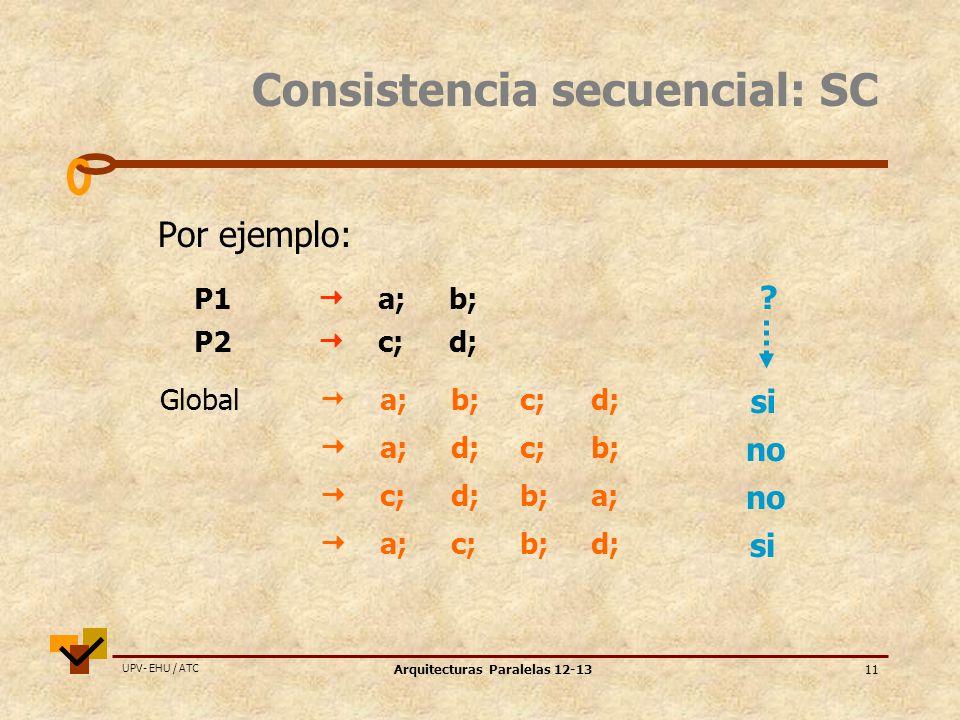 UPV- EHU / ATC Arquitecturas Paralelas 12-1311 Consistencia secuencial: SC Por ejemplo: P1 a;b; P2 c; d; a;d;c;b; c;d;b;a; a;c;b;d; Global a;b;c;d; .