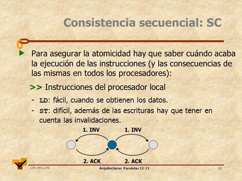 UPV- EHU / ATC Arquitecturas Paralelas 12-1313 Consistencia secuencial: SC Para asegurar la atomicidad hay que saber cuándo acaba la ejecución de las instrucciones (y las consecuencias de las mismas en todos los procesadores): - LD : fácil, cuando se obtienen los datos.
