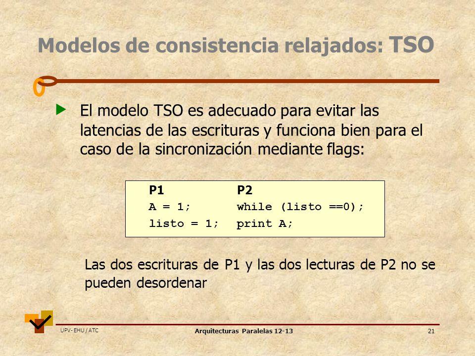 UPV- EHU / ATC Arquitecturas Paralelas 12-1321 Modelos de consistencia relajados: TSO El modelo TSO es adecuado para evitar las latencias de las escrituras y funciona bien para el caso de la sincronización mediante flags: P1P2 A = 1;while (listo ==0); listo = 1;print A; Las dos escrituras de P1 y las dos lecturas de P2 no se pueden desordenar