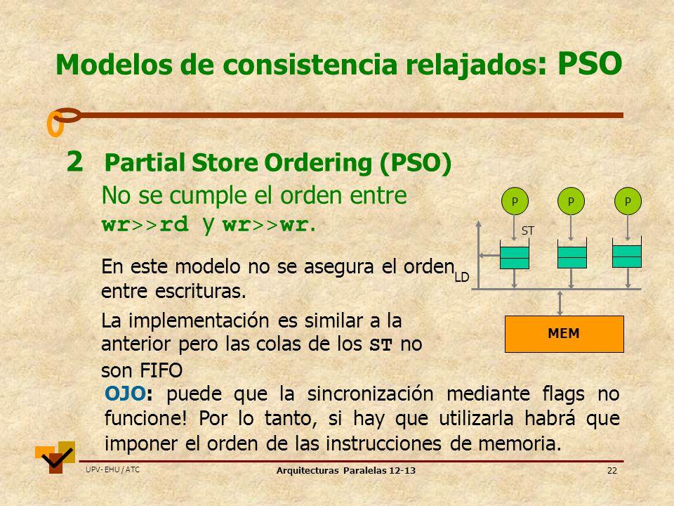 UPV- EHU / ATC Arquitecturas Paralelas 12-1322 Modelos de consistencia relajados : PSO 2 Partial Store Ordering (PSO) PPP ST MEM LD No se cumple el orden entre wr >> rd y wr >> wr.