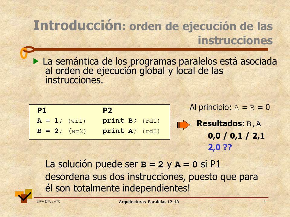 UPV- EHU / ATC Arquitecturas Paralelas 12-134 La semántica de los programas paralelos está asociada al orden de ejecución global y local de las instrucciones.