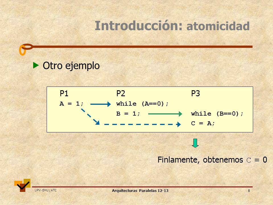 UPV- EHU / ATC Arquitecturas Paralelas 12-138 P1P2P3 A = 1;while (A==0); B = 1;while (B==0); C = A; Introducción: atomicidad Otro ejemplo Finlamente, obtenemos C = 0