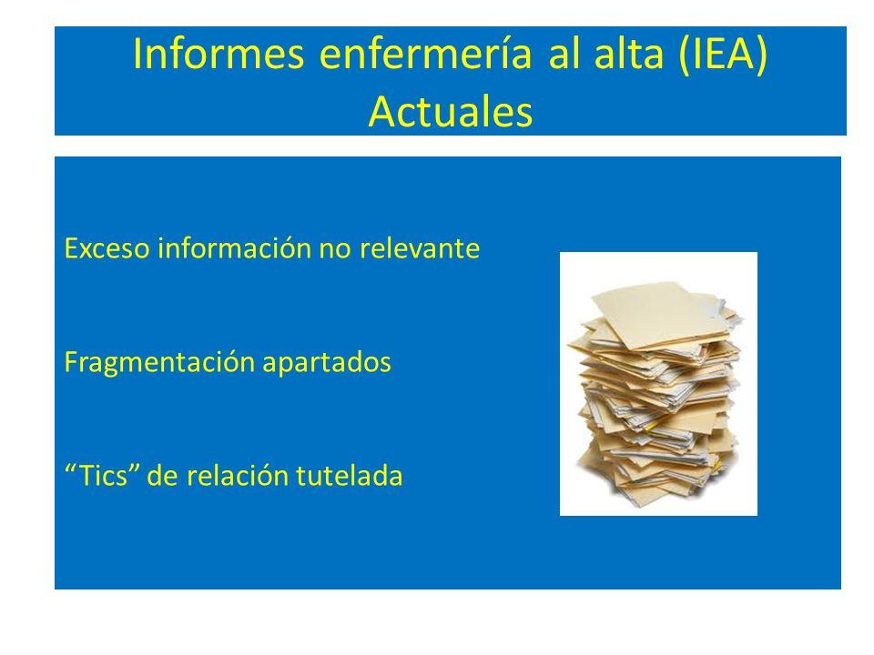 Informes enfermería al alta (IEA) Actuales Exceso información no relevante Fragmentación apartados Tics de relación tutelada