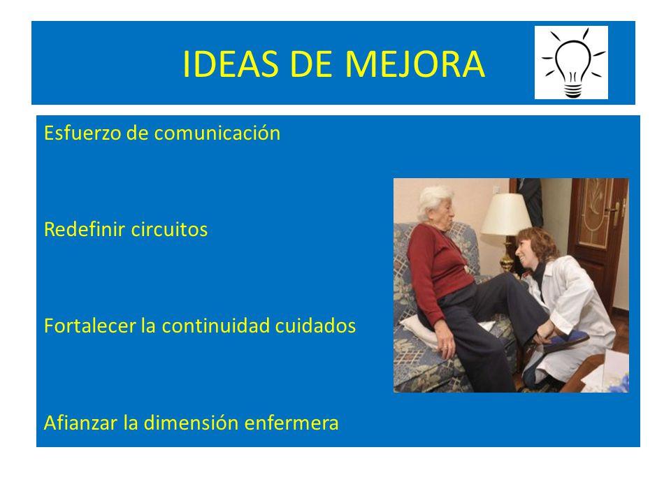 IDEAS DE MEJORA Esfuerzo de comunicación Redefinir circuitos Fortalecer la continuidad cuidados Afianzar la dimensión enfermera