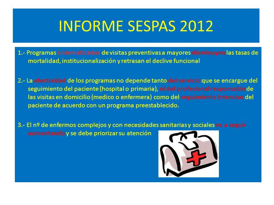 INFORME SESPAS 2012 1.- Programas sistematizados de visitas preventivas a mayores disminuyen las tasas de mortalidad, institucionalización y retrasan