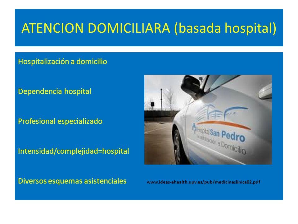 ATENCION DOMICILIARA (basada hospital) Hospitalización a domicilio Dependencia hospital Profesional especializado Intensidad/complejidad=hospital Dive