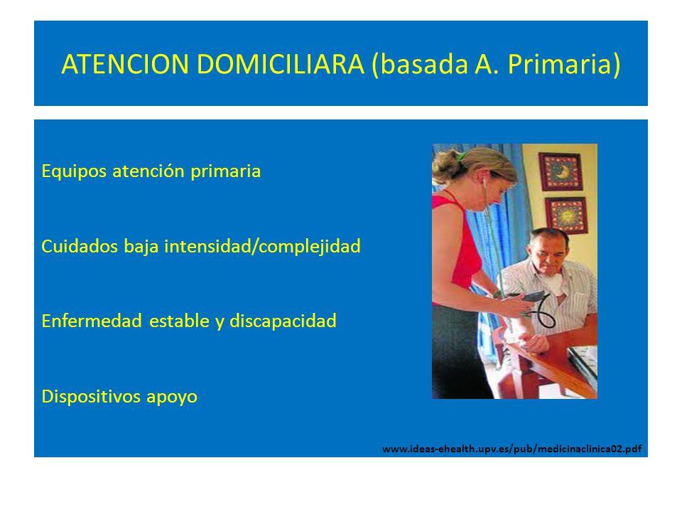 ATENCION DOMICILIARA (basada A. Primaria) Equipos atención primaria Cuidados baja intensidad/complejidad Enfermedad estable y discapacidad Dispositivo