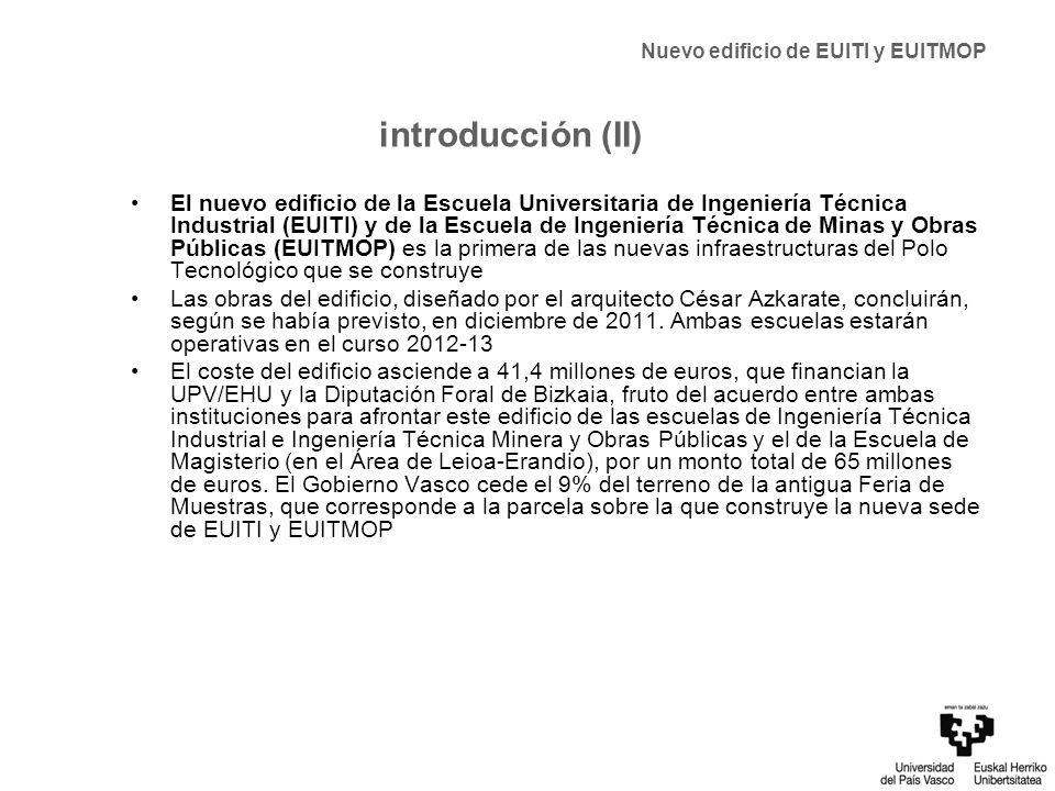 situación del edificio implantación en el Área de San Mamés San Mames BarriaFuturos edificios UPV/EHU (Biblioteca y edificio de uso polivalente e I+D+ i) ETS de Ingeniería Nuevo edificio de EUITI y EUITMOP