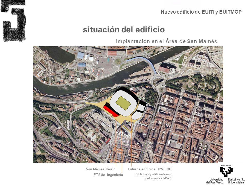 situación del edificio implantación en el Área de San Mamés San Mames BarriaFuturos edificios UPV/EHU (Biblioteca y edificio de uso polivalente e I+D+