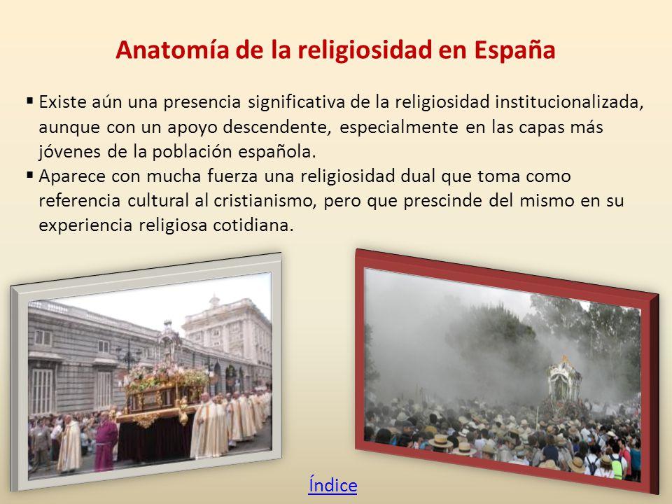 Existe aún una presencia significativa de la religiosidad institucionalizada, aunque con un apoyo descendente, especialmente en las capas más jóvenes de la población española.