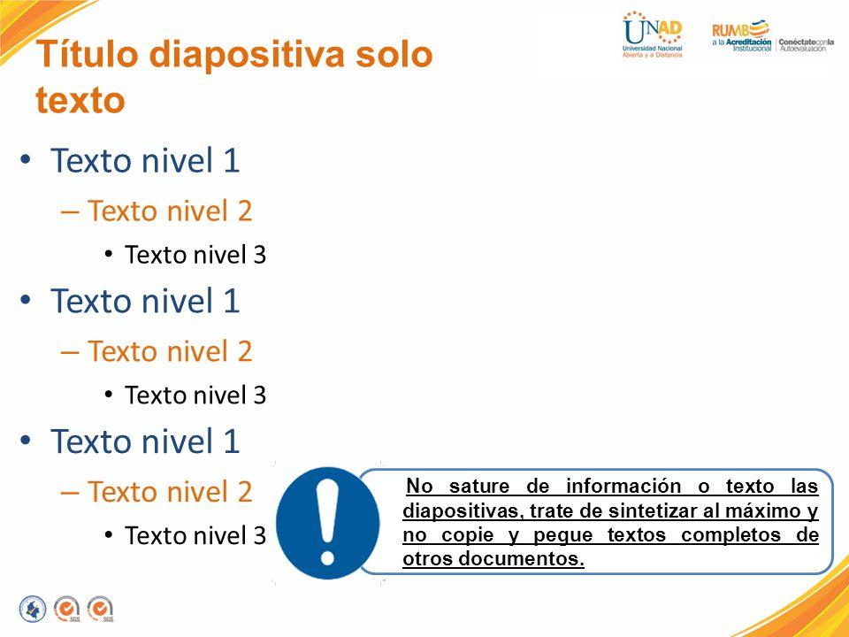 Título diapositiva solo texto Texto nivel 1 – Texto nivel 2 Texto nivel 3 Texto nivel 1 – Texto nivel 2 Texto nivel 3 Texto nivel 1 – Texto nivel 2 Te