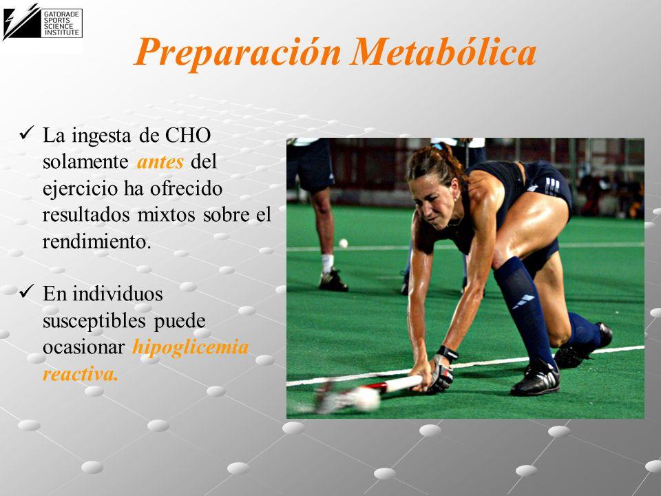 Preparación Metabólica La ingesta de CHO solamente antes del ejercicio ha ofrecido resultados mixtos sobre el rendimiento. En individuos susceptibles