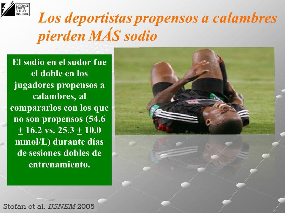 Los deportistas propensos a calambres pierden MÁS sodio El sodio en el sudor fue el doble en los jugadores propensos a calambres, al compararlos con l